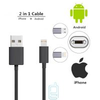 USB кабель Double sided 2in1 Lightning, micro USB черный