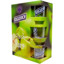 Водка Кеглевич Яблоко 2л (Keglevich Apple 2l) + 3 стакана